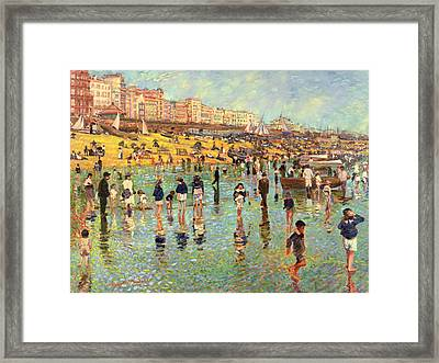Passing Time On Brighton Beach Framed Print