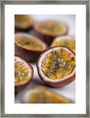 Passion Fruit Halves Framed Print by Veronique Leplat