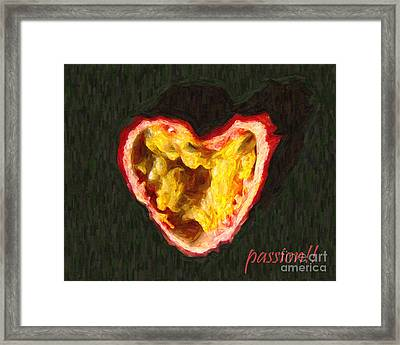 Passion Fruit With Text Framed Print by Wingsdomain Art and Photography