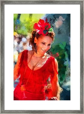 Passionate Gypsy Blood. Flamenco Dance Framed Print by Jenny Rainbow