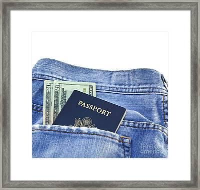 Passport In Jeans Pocket Framed Print by Blink Images