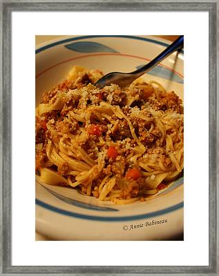 Pasta Alla Ragu Bolognese Framed Print by Anne Babineau