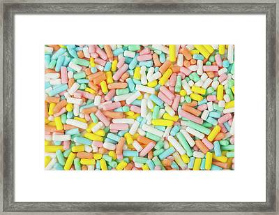 Pastel Birthday Sprinkles - Macro Framed Print by Nic Taylor