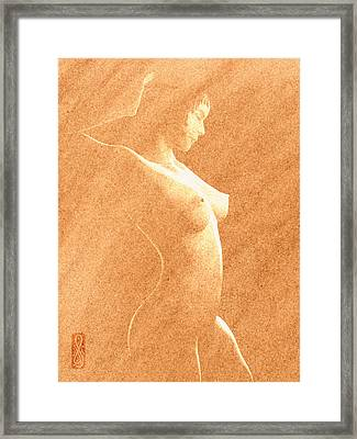 Pastel Chiaroscuro Nude Framed Print by Hakon Soreide