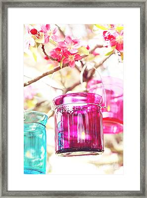Pastel Colored Candles In A Tree Framed Print by Stephanie Frey