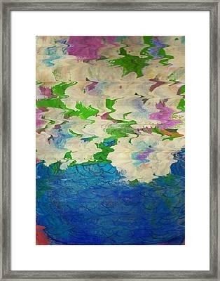Pastel Flowers And Blue Vase Framed Print by Anne-Elizabeth Whiteway