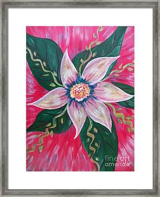 Pastel Rainbow Flower Framed Print by Judy Via-Wolff