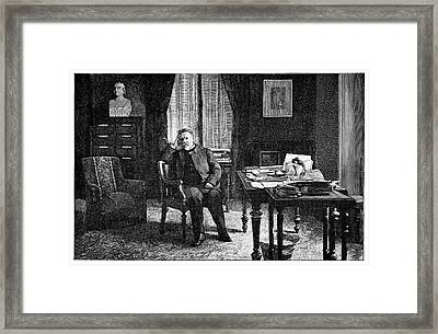 Pasteur In His Study, 19th Century Framed Print by