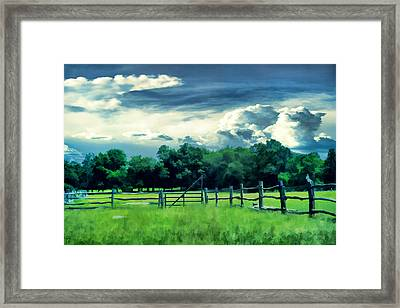 Pastoral Greenery Framed Print by Lourry Legarde