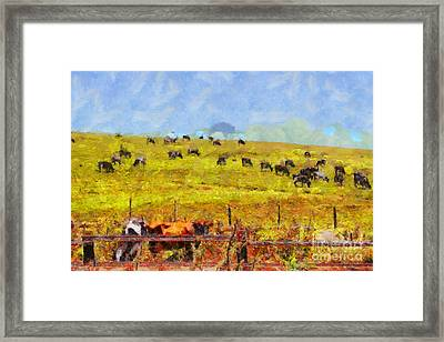 Pastoral Landscape Painterly . 7d15962 Framed Print by Wingsdomain Art and Photography
