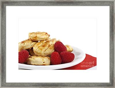 Pastries And Raspberries Framed Print by Blink Images