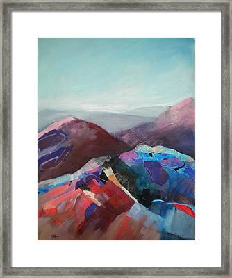 Patchwork Mountain Framed Print by Sally Bullers