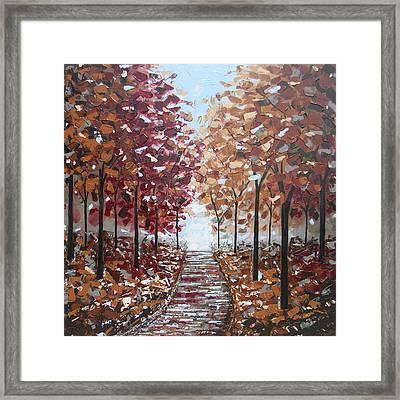 Path Through The Autumn Trees Framed Print by Christine Krainock