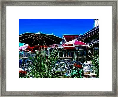 Patio Umbrellas Framed Print by Methune Hively