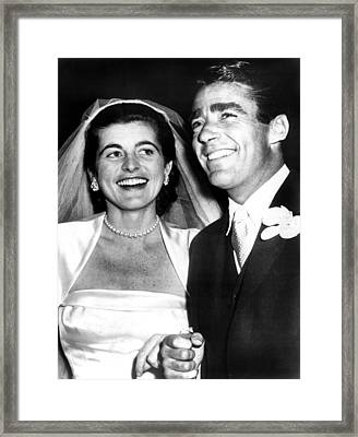 Patricia Kennedy Lawford And Husband Framed Print by Everett