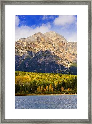 Patricia Lake And Pyramid Mountain Framed Print by Yves Marcoux