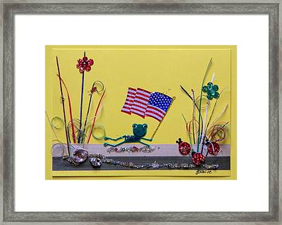 Patriot Frog Framed Print by Gracies Creations