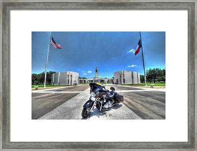 Patriot Guard Rider At The Houston National Cemetery Framed Print