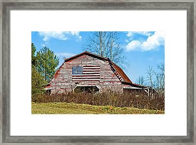 Patriotic Barn Framed Print by Susan Leggett