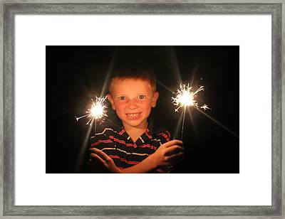 Framed Print featuring the photograph Patriotic Boy by Kelly Hazel