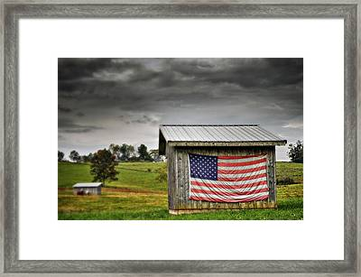 Patriotic Shed Framed Print by Kathy Jennings