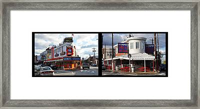 Pats Vs Genos South Philly Cheese Steaks  Framed Print by Bill Cannon