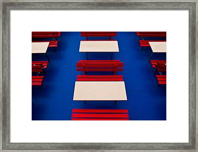 Patterned Benches Framed Print by Justin Albrecht