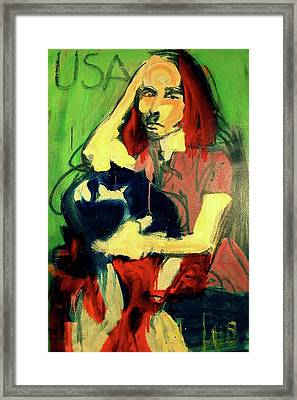Framed Print featuring the painting Patty Smyth by Les Leffingwell