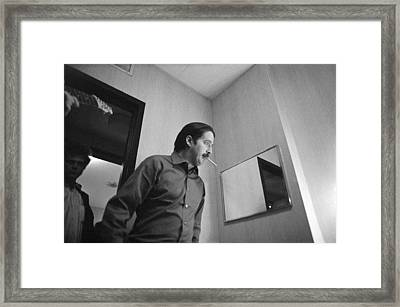 Paul Butterfield With Mike Bloomfield In Doorway At Fillmore East 1968 Framed Print by Jan W Faul