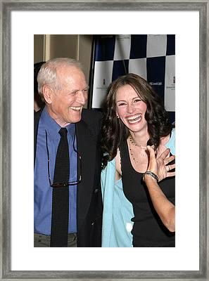 Paul Newman, Julia Roberts At Arrivals Framed Print
