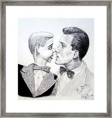 Paul Winchell And Ventriloquist Dummy Jerry Mahoney  Framed Print by Jim Fitzpatrick