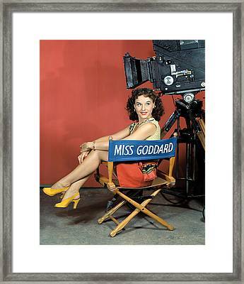 Paulette Goddard, Ca 1940 Framed Print by Everett