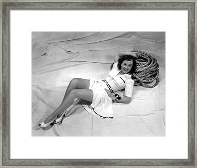 Paulette Goddard, Reclining Framed Print by Everett