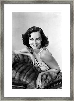 Paulette Goddard With Fur Coat Framed Print by Everett