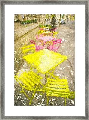 Pavement Cafe Painting Framed Print by Tom Gowanlock