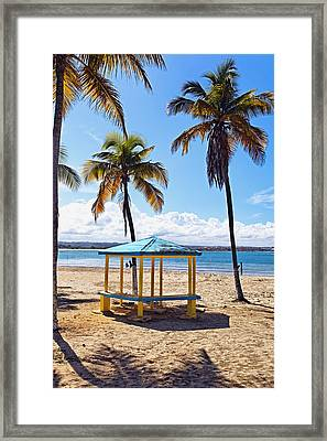 Pavilion On A Beach In Arecibo Framed Print by George Oze