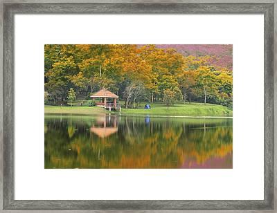 Pavillion In The Autumn Park  Framed Print by Anek Suwannaphoom