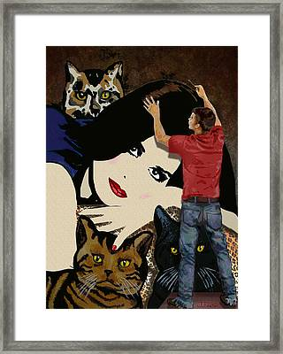 Framed Print featuring the painting Paxton Painting Pussy by Jann Paxton