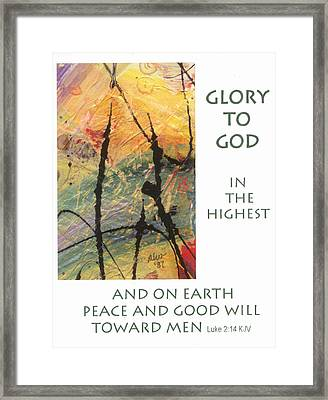 Peace And Goodwill Toward Men Framed Print by Angela L Walker