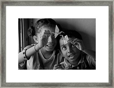 Peace And Love Framed Print by Valerie Rosen
