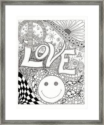 Peace Love And Happiness Framed Print by Paula Dickerhoff