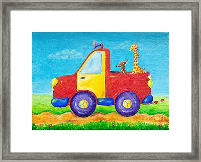 Peace Love And Music Truck Framed Print