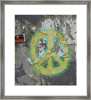 Peace No Trespassing Framed Print by Todd Sherlock