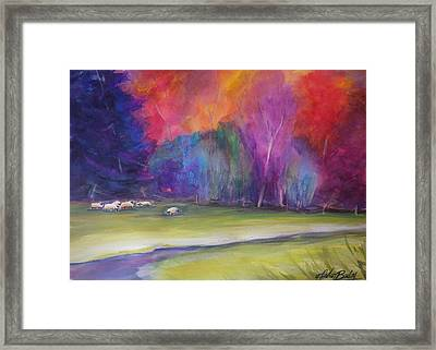Peaceful Pastoral Sheep Framed Print by Therese Fowler-Bailey