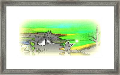 Framed Print featuring the drawing Peacetime by Susan  Solak