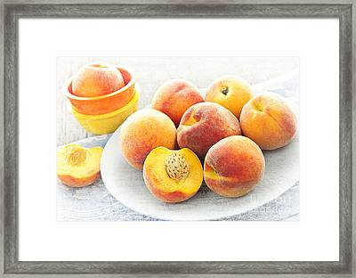 Peaches On Plate Framed Print