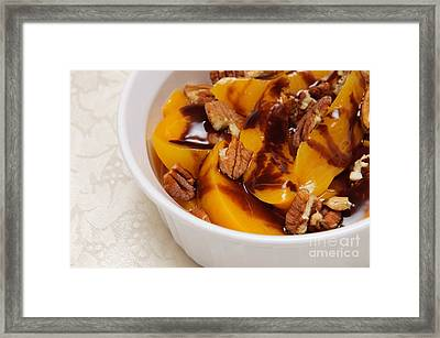 Peaches With Chocolate Drizzle And Pecans Framed Print by Andee Design