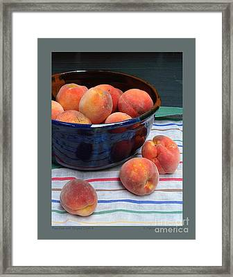 Framed Print featuring the photograph Peaches With Striped Cloth-ii by Patricia Overmoyer
