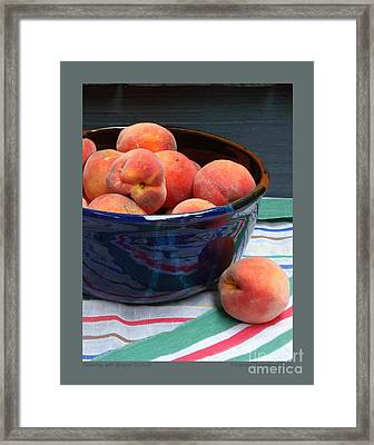 Peaches With Striped Cloth-iii Framed Print by Patricia Overmoyer