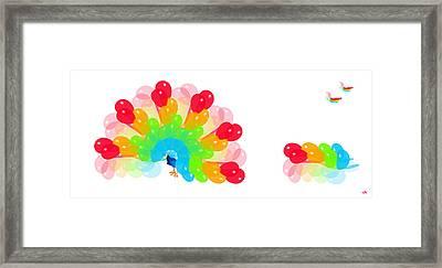 Peacock Balloon Framed Print by Victoria Regueira